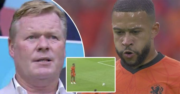 Depay cold-bloodedly converts penalty kick with Koeman in stands