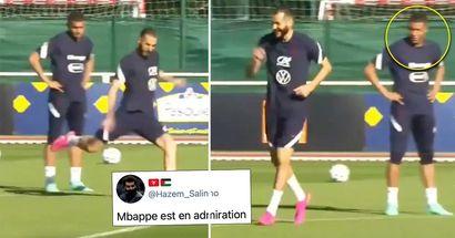 Kylian Mbappe sieht völlig geschockt aus, nachdem er Karim Benzemas Fähigkeiten beim Training gesehen hat