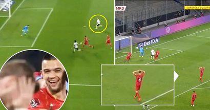 La reazione del giocatore della Macedonia all'incredibile errore di Timo Werner è stata ripresa dalle telecamere
