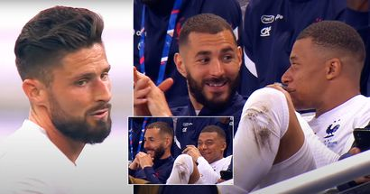 Karim Benzema and Kylian Mbappe caught on camera laughing after Oliver Giroud's goal
