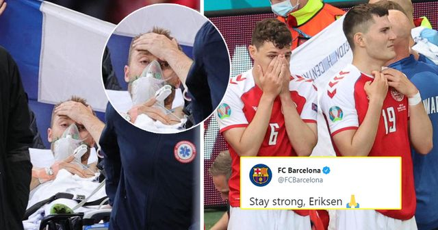 Barcelona, Fabregas & more: Football world comes together to show support as Eriksen collapses on pitch