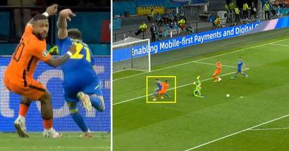 El gran papel de Memphis Depay en el primer gol de Holanda contra Ucrania
