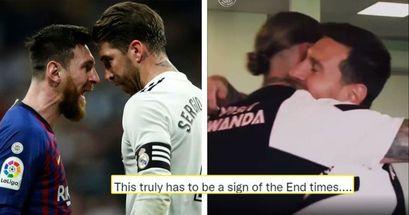 'Asqueroso y desafortunado': la afición del Barça y del Madrid reacciona al abrazo de Messi y Ramos en el PSG