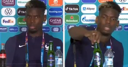 Pogba puts away Heineken beer bottle in France press conference after Germany win