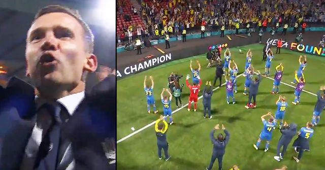 Amazing scenes: Andriy Shevchenko and Ukraine players celebrate their win with fans