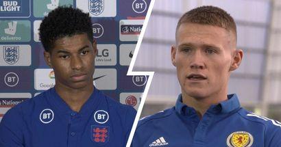 Marcus Rashford reacts to facing Scott McTominay as England prepare to play Scotland