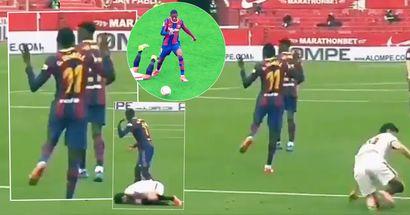 Barca star Ousmane Dembele brutally mocks Sevilla player for 'simulation' during match