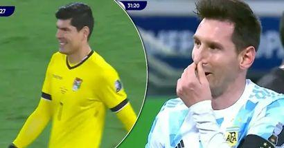 Messi y arquero boliviano comparten lindo momento antes de que Leo marque penalti