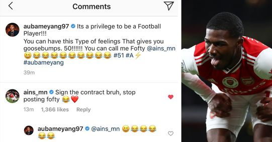 Niles urges Auba to sign in a hilarious Instagram comment