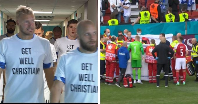 Finland team spotted wearing 'get well Christian' shirts during warm-up vs Russia