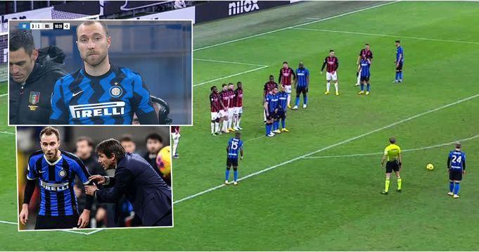 Conte continua a umiliare Eriksen - Christian risponde con un calcio di punizione folle nella vittoria del Derby di Milano