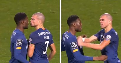 Ex-Madrid defender Pepe loses it, clashes with teammate during victory celebration