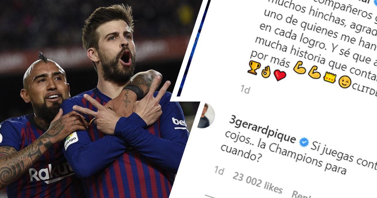 """""""Tu joues dans une ligue de retraités"""": Pique trolle sauvagement Vidal alors que l'ex-Blaugrana remporte son 12ème championnat en 15 ans"""