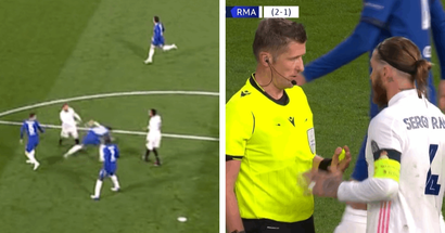 Sergio Ramos loses his cool, gets yellow card for throwing Azpilicueta to the ground