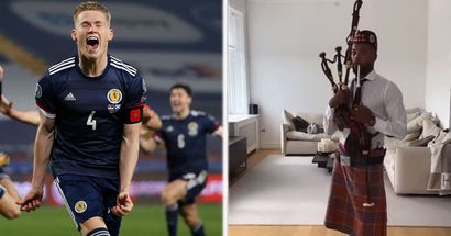 Evra showcases support for Scotland by dressing up in kilt and bagpipes (video)