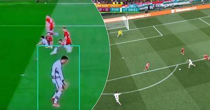 Jota annoys Cristiano Ronaldo as he refuses to pass the ball – caught on camera