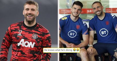 Shaw posts picture in England camp with Declan Rice - and United fans can't help but freak out
