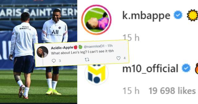 """""""Schau dir Messis Beine an"""": Fans diskutieren, ob Mbappe 2 PSG-Teamkollegen für einen Instagram-Post mit Messi aus dem Bild ausgeschnitten hat"""