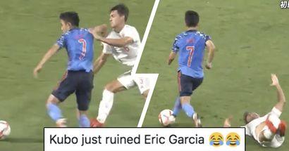 Takefusa Kubo détruit un joueur espagnol en amical, les Madridistas pensent accidentellement que c'est Eric Garcia