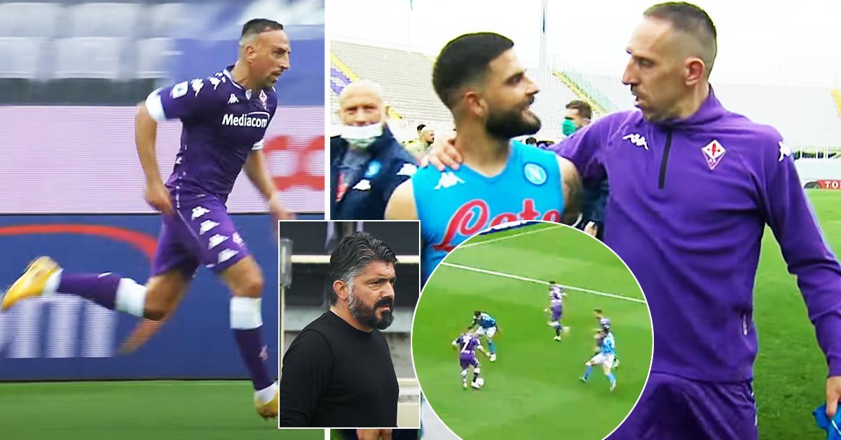 Franck Ribery, 38 anni, terrorizza l'intera difesa del Napoli con un incredibile dribbling