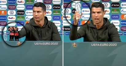 Cristiano Ronaldo removes Coca-Cola bottles in Portugal presser, encourages everyone to 'drink water'