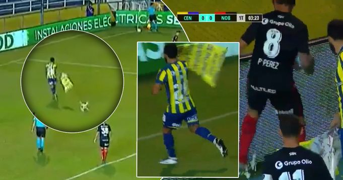 Newell's player squishes drone that carries mocking message, rival player helps him - logo