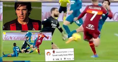 'Auténtico calcio': Tonali se emplea en defensa con una patada digna de kung-fu en el último duelo del Milan
