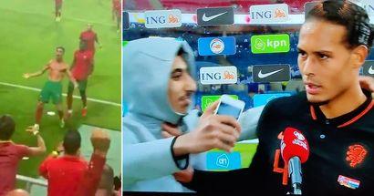 Follia in Europa: Pepe afferra uno steward dopo il gol di CR7 e un tifoso interrompe l'intervista di Van Dijk