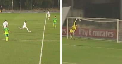 Real Madrid U19's Alvaro Carrillo scores goal from own half with perfect free-kick attempt (video)