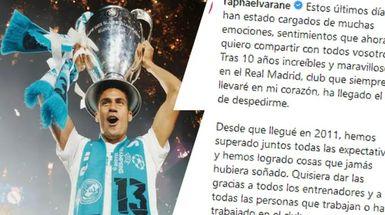 'Ha llegado el día de despedirme': Varane escribe una carta emotiva de despedida al Real Madrid y la afición