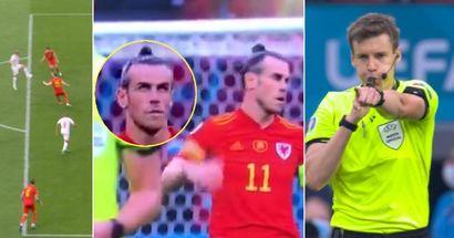 La réaction de Bale suite à la décision du VAR menant au but de Braithwaite filmé par les caméras