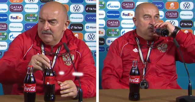 Russia head coach trolls Cristiano Ronaldo by drinking Coca-Cola during press conference