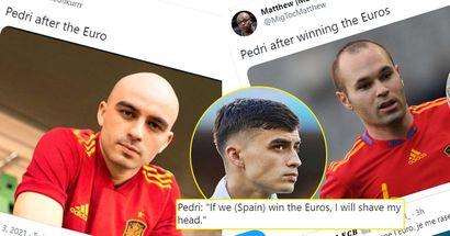 Pedri promet de se raser la tête si l'Espagne gagne l'Euro - les mèmes d'Iniesta s'intensifient