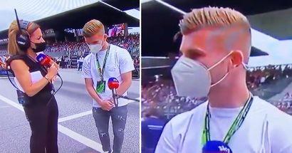 """""""C'è il portiere del Chelsea con noi"""", la reazione di Timo Werner quando la reporter lo ha chiamato portiere"""