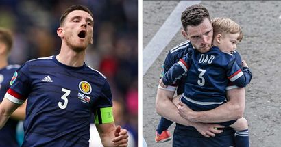 Emotional scenes as Andy Robertson is consoled by his little son after Scotland's defeat to Czech Republic