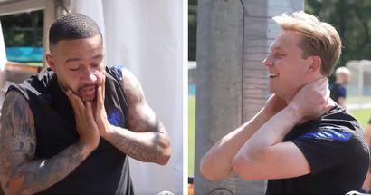 De Jong and Depay joking about Barcelona in Netherlands training