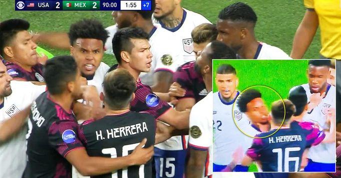 I giocatori di Stati Uniti e Messico iniziano una rissa enorme sul campo, la stella della Juve McKennie viene soffocata