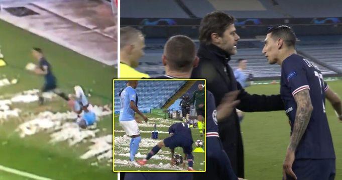 Angel di Maria wurde die Rote Karte für beschämendes Foul gegen Man City außerhalb des Spielfelds gezeigt