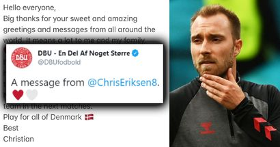 Christian Eriksen posts first pic of himself and message after on-pitch collapse