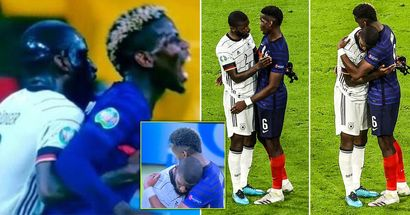Pogba e Rudiger immortalati mentre si abbracciano dopo l'episodio controverso in Francia-Germania