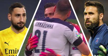 Quand le futur du PSG rencontre l'ancien! Accolade entre Donnarumma et Sirigu lors du match de l'Italie vs Pays de Galles