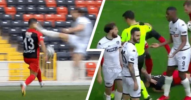 La stella turca contrasta l'avversario con un calcio di kung-fu horror in faccia, lasciandolo con sette punti di sutura