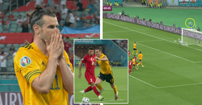 Gareth Bale wins a penalty and misses the goal entirely with a shot from the spot