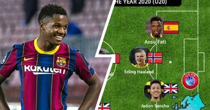 Ansu Fati en el equipo ideal sub-20 del año de la IFFHS, Pedri quedó fuera