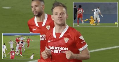 VAR overturns Madrid's penalty and gives one to Sevilla, Rakitic converts to keep Barca in the race