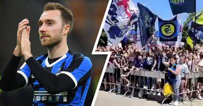 Tutto l'affetto dei tifosi dell'Inter per la squadra e Christian Eriksen alla Pinetina